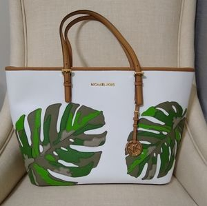 Michael Kors Palm Tote Large White Monstera Leaf